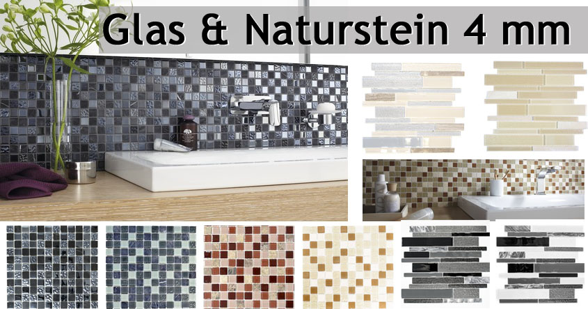 Naturstein Glasmosaik 4mm