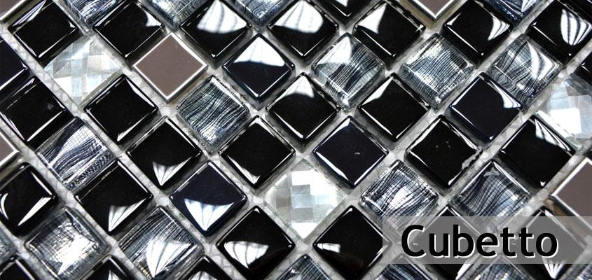 Glas Naturstein Mosaik Cubetto
