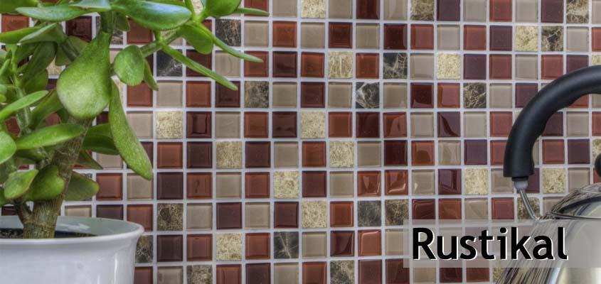 Glas Naturstein Mosaik Rustikal