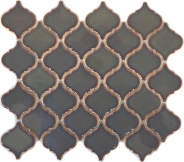 Retro Vintage Mosaik Fliese Keramik Florentiner altgrün glänzend MOS13-0508