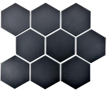 Mosaik Fliese Keramik Hexagon schwarz matt MOS11F-0311