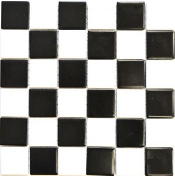 Mosaikfliese Keramik weiß schwarz matt Schachbrett Fliesenspiegel MOS16-CD202