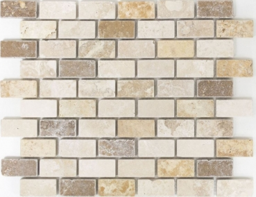 Mosaik Fliese Travertin Naturstein beige braun Brick Travertin tumbled MOS43-46474