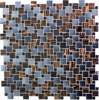 Mosaikfliese Glas Kombination Goldstar braun blaugrau metallic MOS57-K07