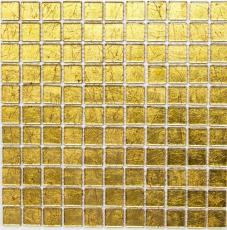 Mosaikfliese Transluzent Glasmosaik Crystal gold Struktur MOS120-0742