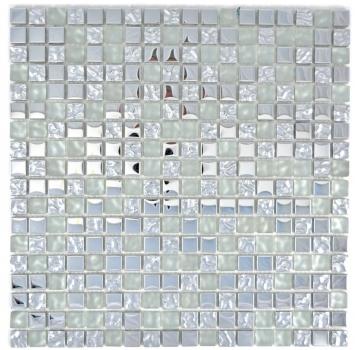Mosaikfliese Transluzent Glasmosaik Crystal silber geh/ämmert MOS70-0207/_m