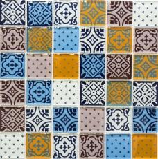 Retro Vintage Mosaikfliese Transluzent weiß blau orange grau Glasmosaik Crystal Optik MOS78B-0123_f | 10 Mosaikmatten