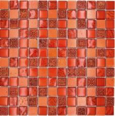 Mosaik Fliese Transluzent rot Glasmosaik Crystal Resin rot Struktur MOS83-CB30