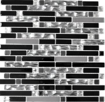 Mosaikfliese Transluzent Edelstahl schwarz Verbund Glasmosaik Crystal Stahl schwarz Glas MOS67-GV478