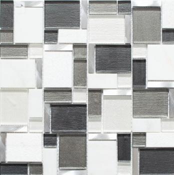 Mosaikfliese Transluzent Aluminium weiß grau Kombination Glasmosaik Crystal Stein Alu weiß und grau MOS49-FK02