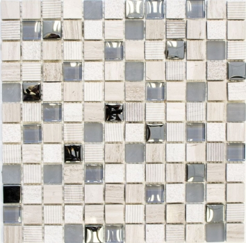 Mosaikfliese Transluzent hellgrau silber Glasmosaik Crystal Stein EP hellgrau silber MOS92-HQ20