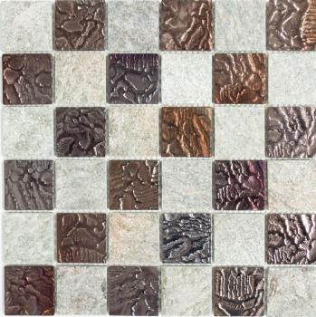 Mosaik Fliese Transluzent grau Glasmosaik Crystal Stein Design Quarzit grau MOS88-CR73
