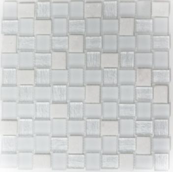 Mosaik Fliese Transluzent weiß Rechteck Glasmosaik Crystal Stein weiß MOS82-0111
