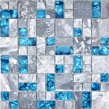 Mosaikfliese Transluzent grau Kombination Glasmosaik Crystal Stein grau blau MOS88-0404