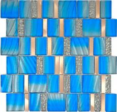Aluminium Mosaik Glasmosaik ALU blau Wand Fliesenspiegel Küche Dusche Bad