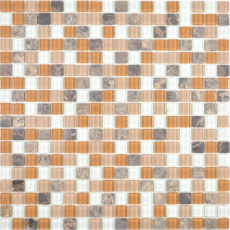 Transluzent   Glasmosaik Stein beige braun Mosaikfliese Wand Fliesenspiegel Küche Bad