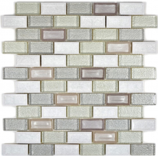 Mosaik Fliese Transluzent Keramik weiß Brick Glasmosaik Crystal Keramik Arktis weiß MOS83IC-0211