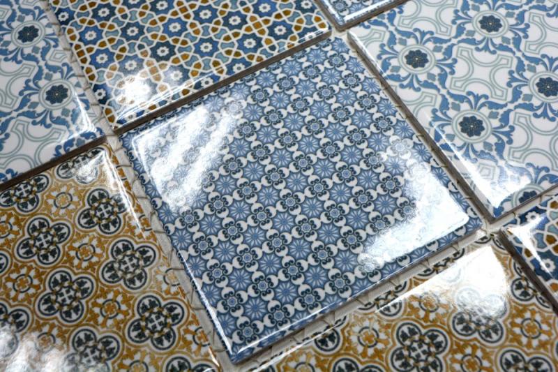 Retro Vintage Mosaik Fliese Keramik weiß blau orange grau
