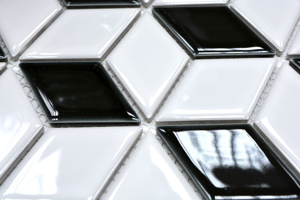 Mosaik Fliese Keramik 3D W/ürfel wei/ß schwarz matt Wandfliesen Badfliese MOS13-OV09/_m