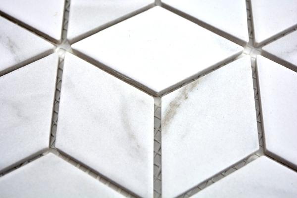 Mosaik Fliese Keramik wei/ß Diamant POV Carrara Wandfliesen Badfliese MOS13-0102
