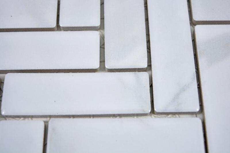 Mosaik Fliese Keramik Fischgrät Steinoptik weiß Fliesenspiegel Küche MOS24-SO10