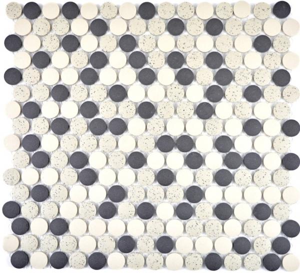 Mosaik Fliesen Mosaikfliesen Keramikmosaik Keramik Kachel beige schwarz Knopf unglasiert