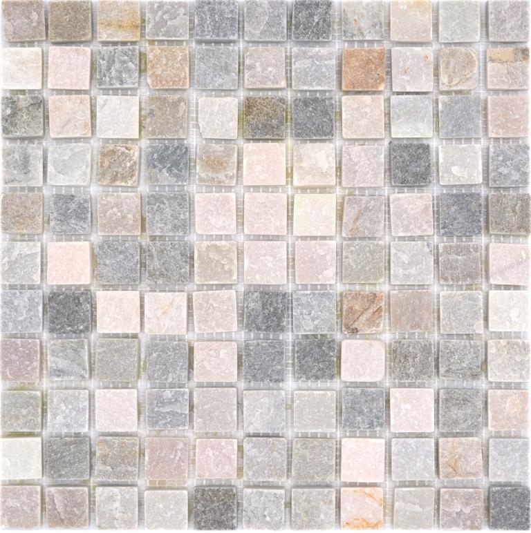 Mosaik Fliese Quarzit Naturstein Quarzit beige K/üchenr/ückwand Spritzschutz grau MOS36-0206