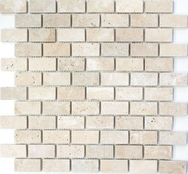 Mosaik Fliese Travertin Naturstein beige Brick Chiaro Antique Travertin MOS43-46234/_m