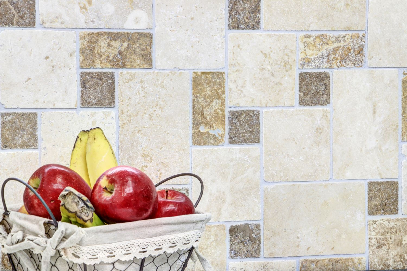 Mosaik Fliese Travertin Naturstein beige braun Mini Pattern Travertin MOS43-1204/_m