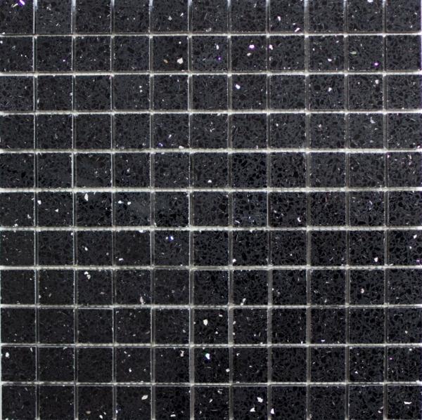 Mosaik Fliese Quarz Komposit Kunststein Artificial schwarz MOS46-ASM22