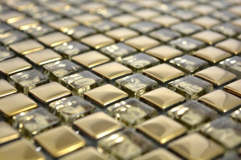Mosaikfliese Transluzent Glasmosaik Crystal EP Gold Glas BAD WC K/üche WAND MOS92-0707