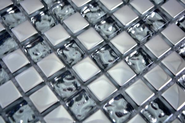 Mosaikfliese Transluzent Glasmosaik Crystal silber Struktur MOS123-8SB16/_m