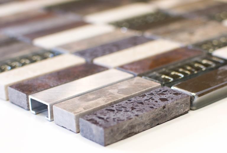 Glasmosaik Naturstein Aluminium Mosaikfliese Panorama Schwarz