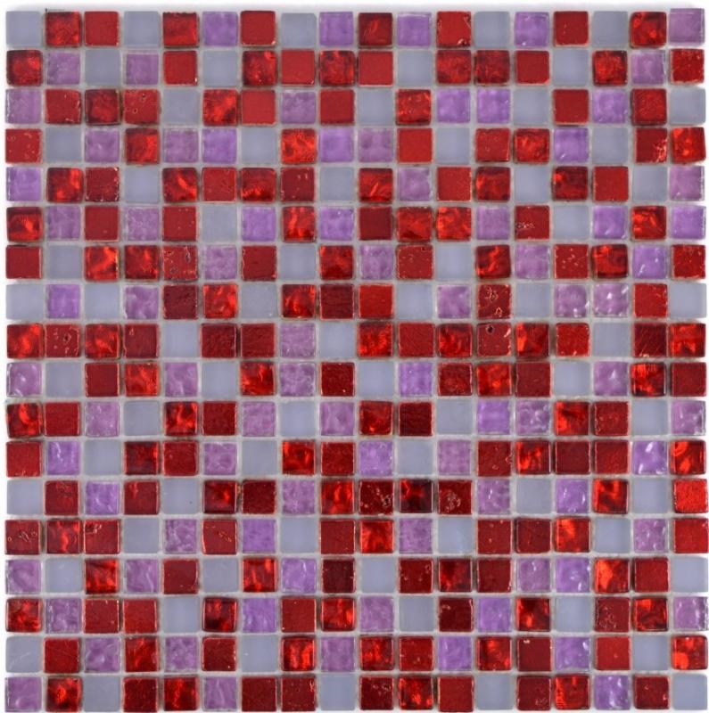 Mosaikfliese Transluzent rot pink weiß Glasmosaik Crystal Resin rot pink weiß m
