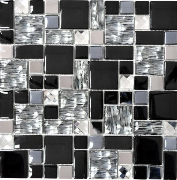 MUSTER Design Edelstahl Kiesel Mosaik Black Silver