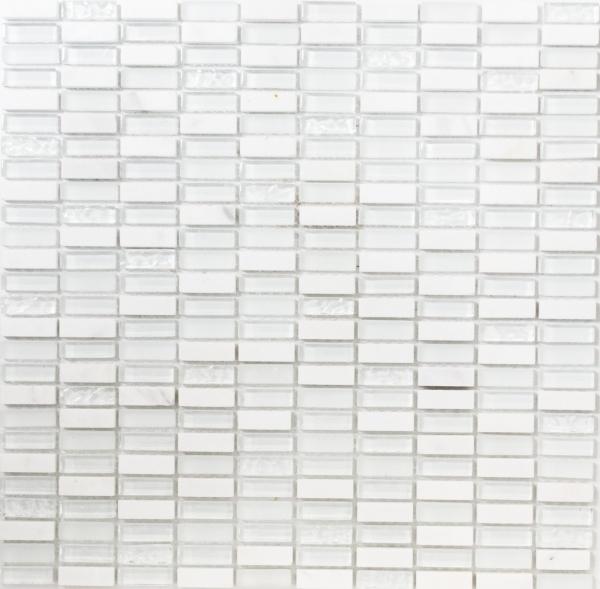 Mosaikfliese Transluzent wei/ß Glasmosaik Crystal wei/ß matt gefrostet MOS60-0111