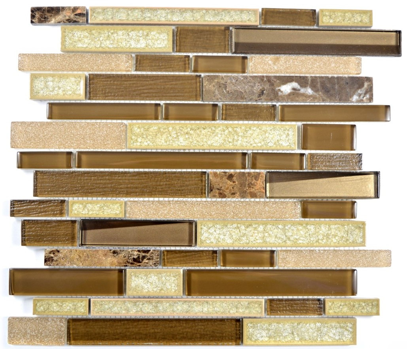 Mosaikfliese selbstklebend Transluzent Stein Edelstahl braun Verbund Glasmosaik