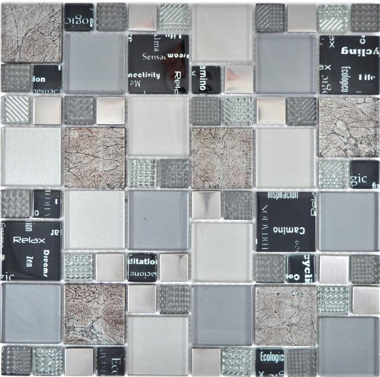 Transparentes Crystal Mosaik Glasmosaik silber schwarz Wand Fliesenspiegel  Küche Dusche Bad