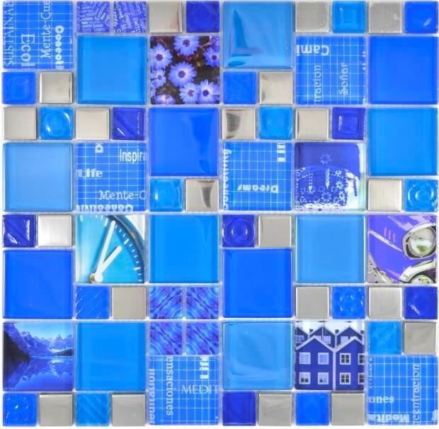 GLAS Mosaik ECO blau Wand Küche Dusche Bad Fliesenspiegel 16-0104/_b
