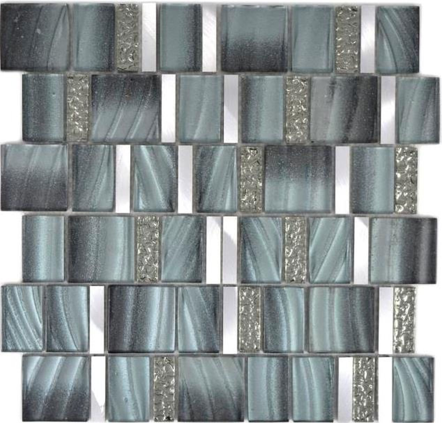 Aluminium Mosaik Glasmosaik ALU grau Wand Fliesenspiegel Küche Dusche Bad