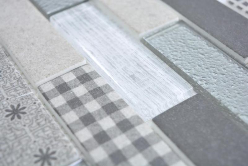 Transluzent Mosaik Brick ECO Glasmosaik Retro grau Wand Fliesenspiegel  Küche Dusche Bad