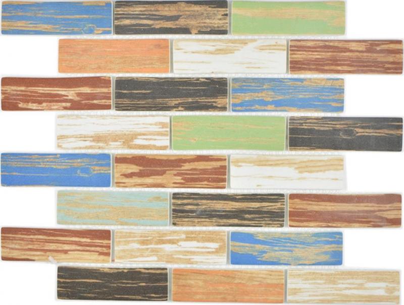 Glas Mosaik Brick Eco Wood Holz Bunt Wand Fliesenspiegel Küche Bad