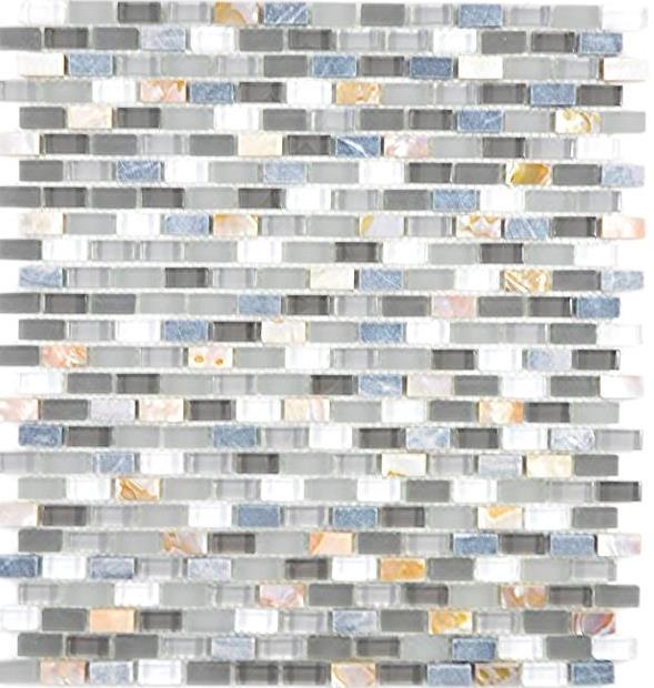 1Matte Mosaik Fliese Keramik grau Verbund Glasmosaik Fliesenspiegel 87SO-0223/_b
