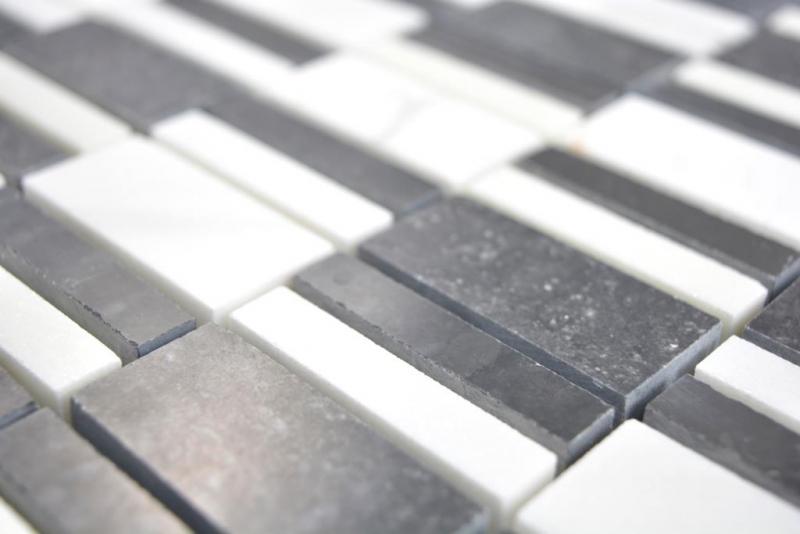 Marmor Mosaik Stein schwarz weiß Mosaikfliese Wand Fliesenspiegel Küche Bad