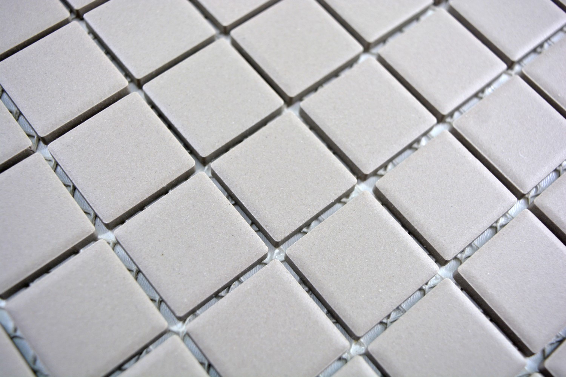 Mosaikfliese Keramik HELLGRAU SEIFENGRAU WAND BODEN unglasiert MOS18-0204-R10