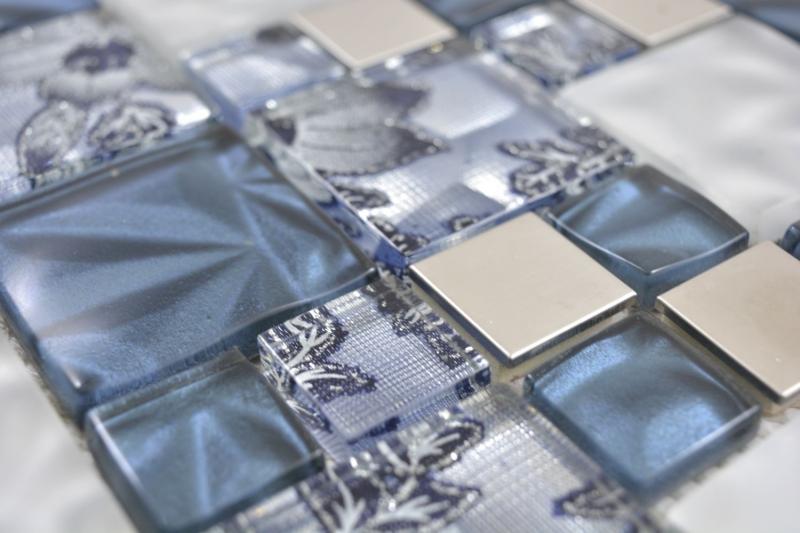 Kombination Crystal//Stahl mix grau//schwarz Mosaikfliese Wand Fliesenspiegel ...