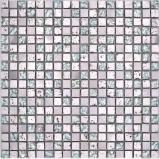 Mosaikfliese Transluzent Aluminium silber Glasmosaik Crystal Alu Resin silber MOS92-0202_f