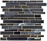 Mosaikfliese Transluzent Keramik schwarz Verbund Glasmosaik Crystal Stein Keramik schwarz MOS87SO-0329_f