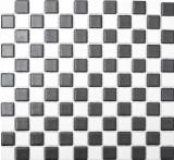 Mosaikfliese Keramik RUTSCHSICHER Schachbrett schwarz weiß matt MOS18-0305-R10_f