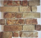 Mosaik Fliese Schiefer Naturstein Brick braun rost MOS34-1204